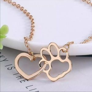 Jewelry - Animal Lover Paw Print Heart Necklace